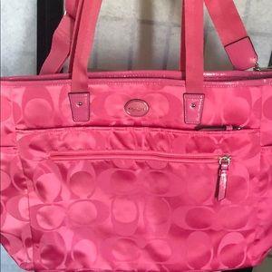 Coach baby diaper bag in pink